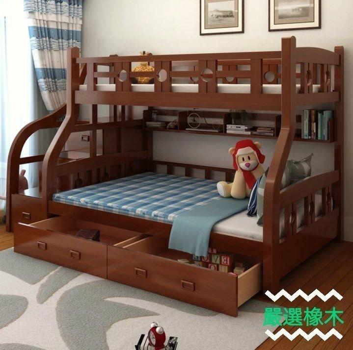 綠巨人家具網*美式全實木上下床高低床中式双層床多功能成人子母床上下舖,樂天雙11