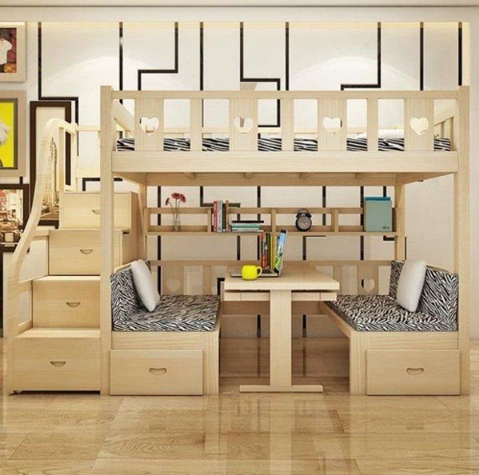 綠巨人家具網*實木上下1.6米雙人床多功能實木高低床雙人床上下铺床子母床雙層组合上床下桌兒童床