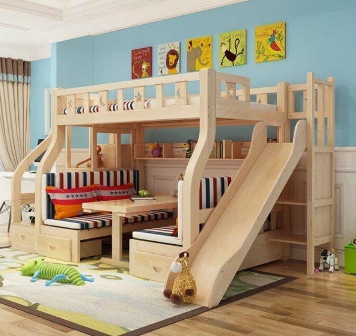 綠巨人家具網*實木1.6米上下床多功能雙層床滑梯上下舖