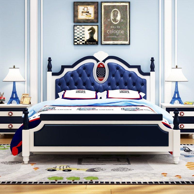 綠巨人家具網*兒童床男孩床1.2米實木 欧式地中海1.5m 青少年小孩1.8组合单人床,樂天雙11