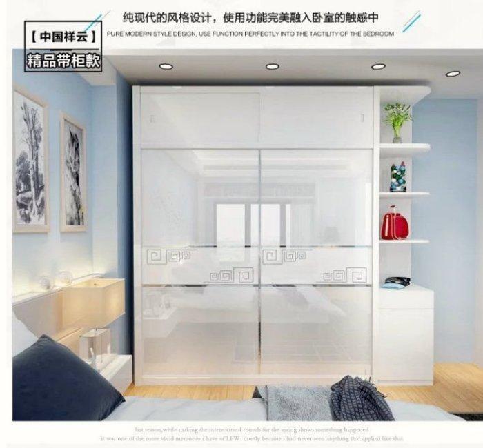 衣櫃/衣櫥/綠巨人家具網*現代簡約鋼琴烤漆推拉門衣櫃板式移門组合整体大衣橱 卧室