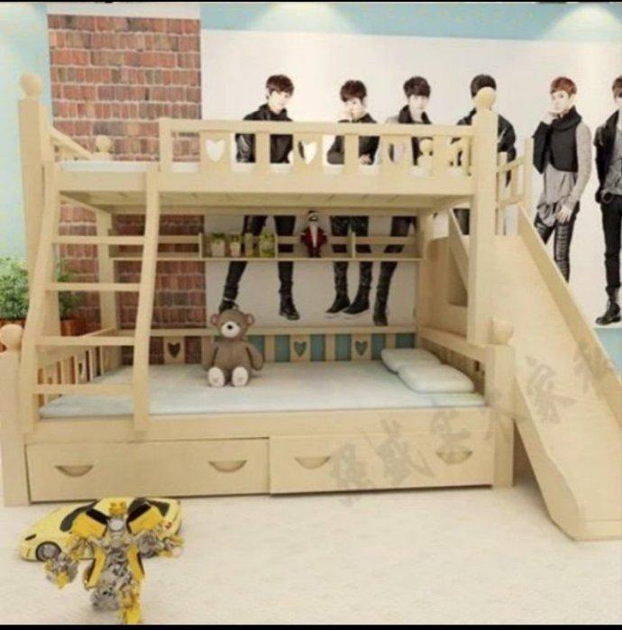 綠巨人家具網*松木子母床兒童床實木雙層床上下铺高低床母子床带滑梯储物櫃