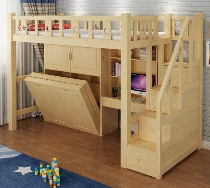 上下舖 隱形床 高低床 梯櫃 折疊床 兒童子母床 多功能組合床 衣櫃 高架床【A-123】綠巨人家具
