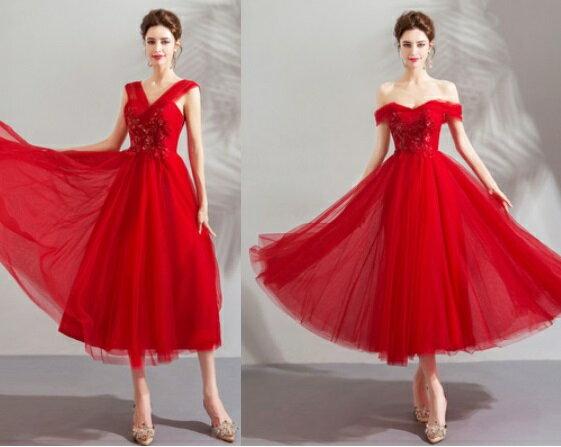 天使嫁衣【AE6628】紅色兩穿法V領披肩紗釘珠亮片中長款禮服˙預購訂製款