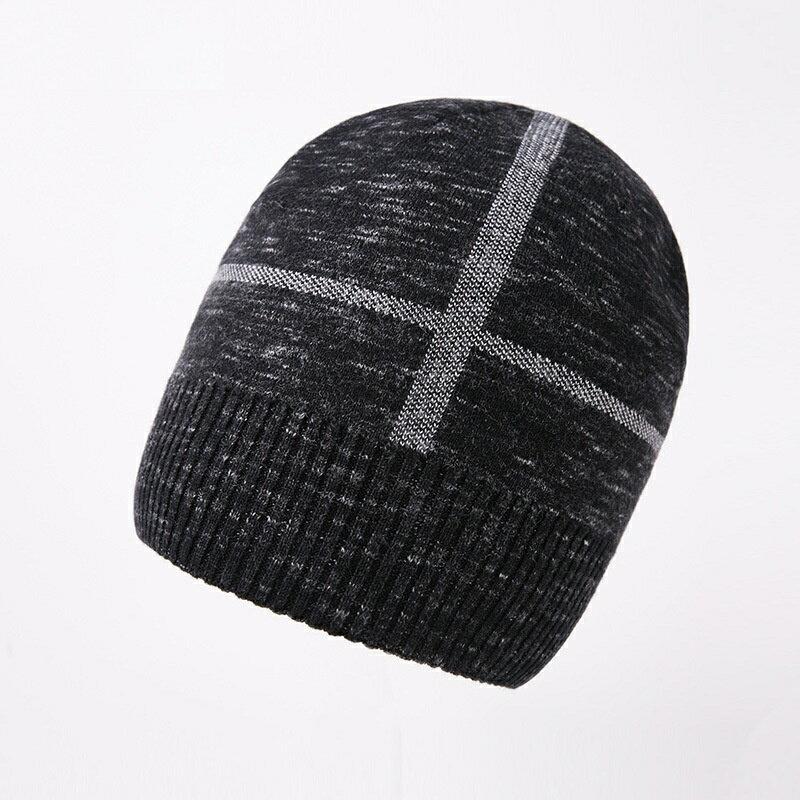 毛帽羊毛針織帽-十字提花捲邊休閒男帽子2色73wj26【獨家進口】【米蘭精品】 0