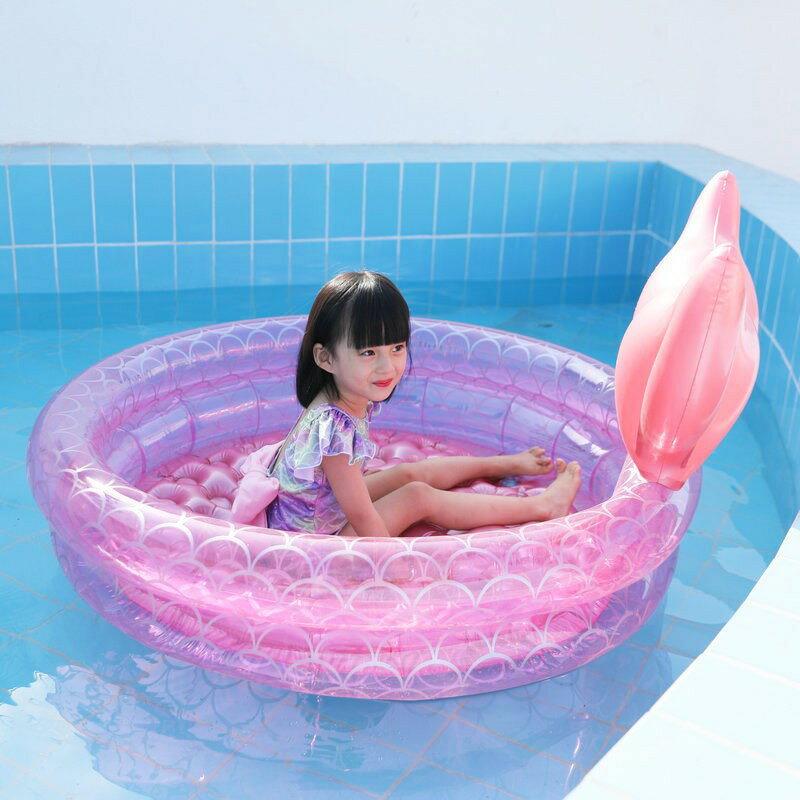 充氣泳池 網紅充氣粉美人魚水池戶外兒童圓形卡通漂浮墊洗澡盆海洋球游泳池