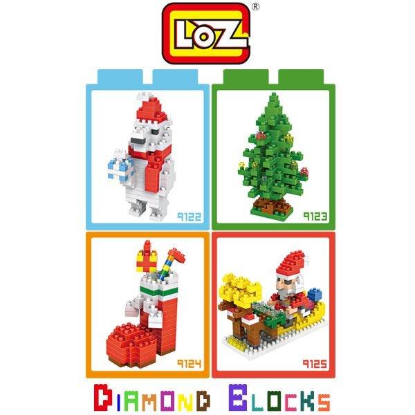 LOZ 鑽石積木 9122-9125 聖誕熊 聖誕樹 聖誕襪 聖誕老公公/益智/趣味/迷你/腦力激盪【馬尼行動通訊】