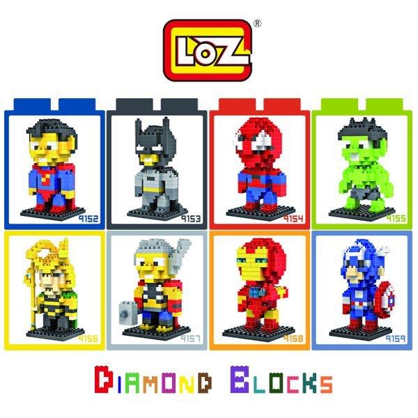 LOZ 鑽石積木 9152-9159 超人 蝙蝠俠 蜘蛛人 美國隊長 雷神 鋼鐵人/迷你/積木/腦力激盪【馬尼行動通訊】