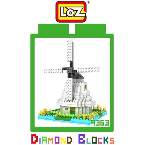 LOZ 鑽石積木 9363 荷蘭風車 260PCS/益智/趣味/迷你/腦力激盪/公仔/玩具/積木【馬尼行動通訊】