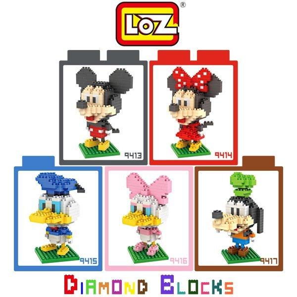 LOZ 鑽石積木 9413-9417 迪士尼大頭系列/益智/玩具/趣味/腦力激盪/迷你積木/小積木/智力【馬尼行動通訊】