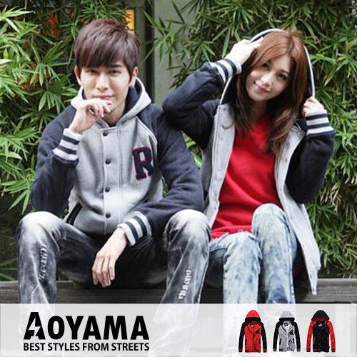 [青山~AOYAMA ] 韓版雜誌款新品大R排扣拉鍊重磅刷毛棒球外套 情侶款3色【AR25808】