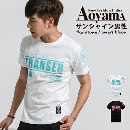 短T 美式大學T TRANSER文字印花圓領短T ~JJ4998~青山AOYAMA