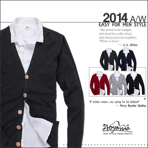 [青山~AOYAMA ] 都會風情特色木釦設計開襟針織外套【JK3060】罩衫