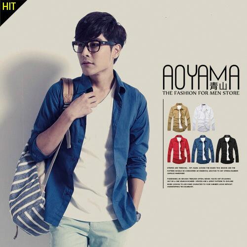 [青山~AOYAMA ] 韓式極簡風格素雅百搭素面長袖襯衫(5色)【WA2837】