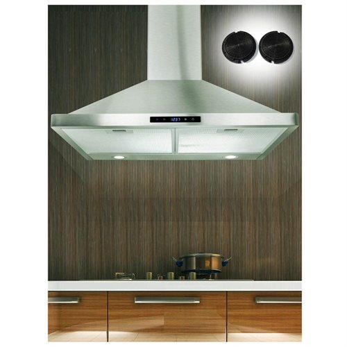 "AKDY Europe 30"" Kitchen Wall Mount Stainless Steel Range Hood AK-63175S Stove Vents Carbon Filter Included For Ventless/Ductless Option 0"