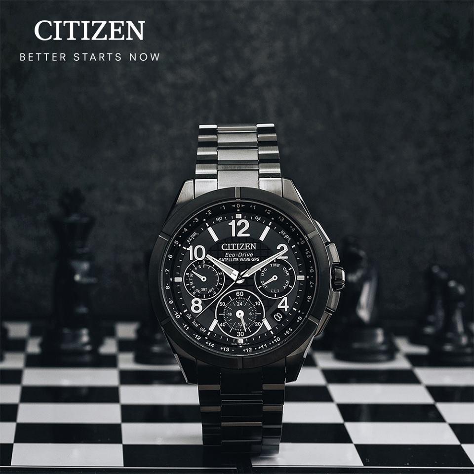 清水鐘錶 Citizen 星辰 Eco-Drive光動能 宇宙報時GPS衛星鈦金屬腕錶 神秘黑 CC9075-52F 44mm
