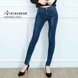 鉛筆褲--休閒時尚撞色壓線復古壓釦精緻圖案英字刺繡口袋丹寧褲(藍M-3L)-C99眼圈熊中大尺碼