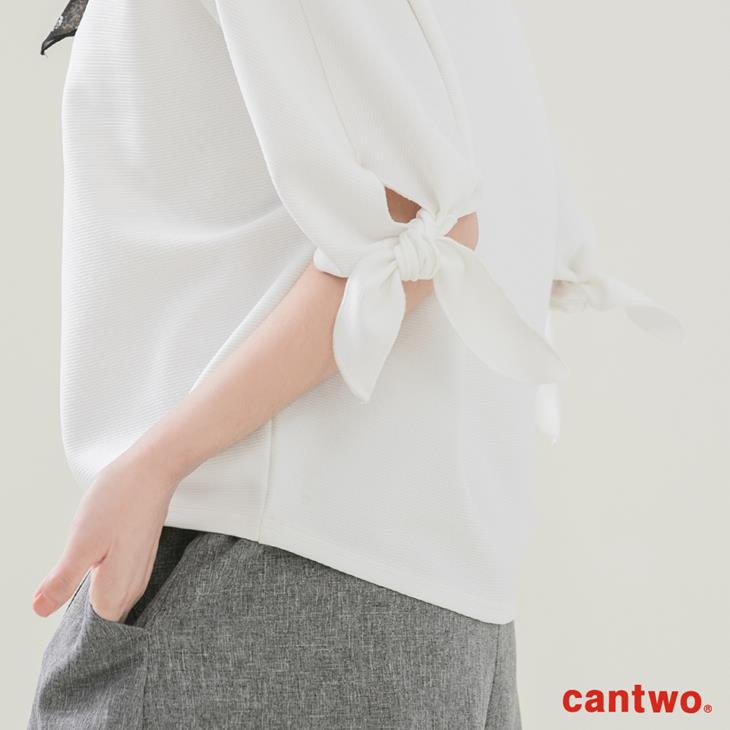 cantwo簡約綁結五分袖上衣(共二色) 4