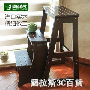 實木梯凳多 家用梯子室內加厚折疊兩用三步小臺階樓梯椅登高凳