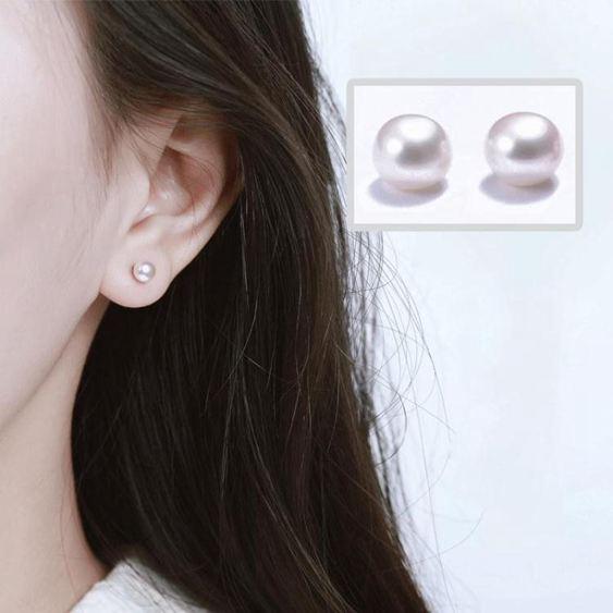 925銀淡水珍珠耳釘女氣質韓國個性耳飾簡約百搭睡覺不用摘的耳環