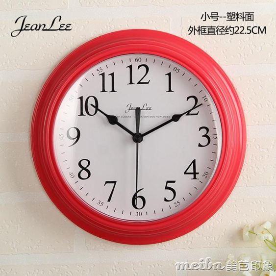 現代簡約鐘表掛鐘客廳臥室家用圓形電池數字時鐘掛表壁鐘 QM