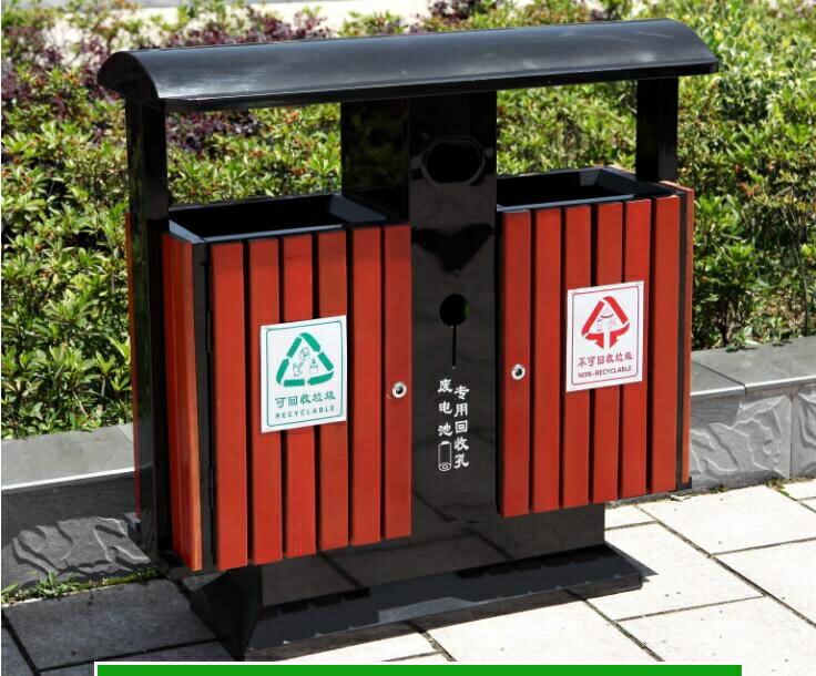 戶外垃圾桶果皮箱室外環衛大號垃圾箱小區景區公園鋼木分類垃圾桶  樂樂百貨