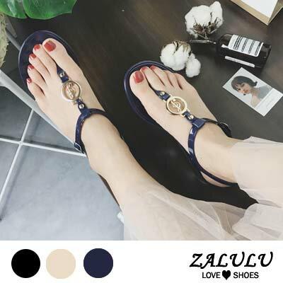 ZALULU愛鞋館 HD241 預購款 波希米亞風甜美金屬露趾平底涼鞋-黑/杏/藍-36-39