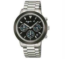 agnes b VD53-KQ00A(BT3014X1)法式時尚計時腕錶/黑面40mm