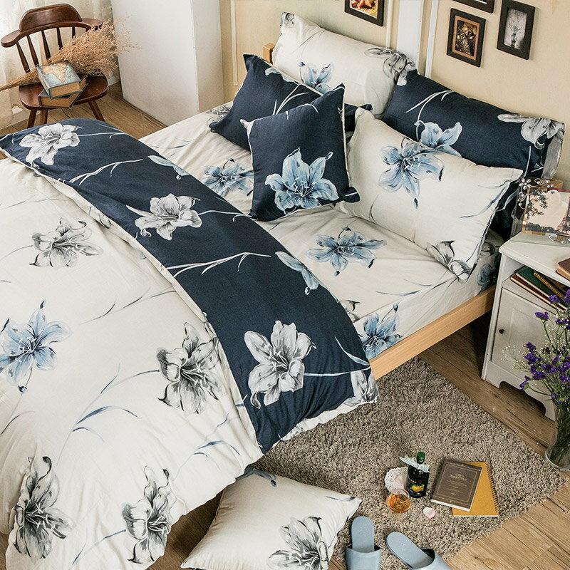 床包兩用被套組  /  雙人-100%精梳棉【漫漫花徑米】含兩件枕套,花語系列,戀家小舖,台灣製 9