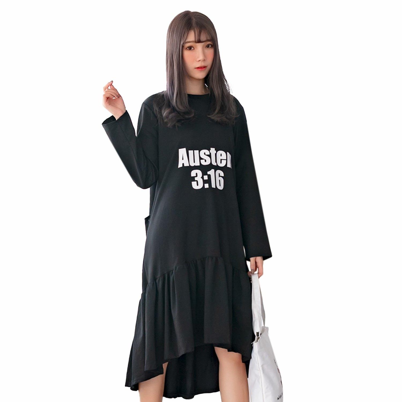 運動--休閒性感露背百褶裙寬鬆修身假兩件長袖長版連衣裙(黑.藍L-3L)-A384眼圈熊中大尺碼 0