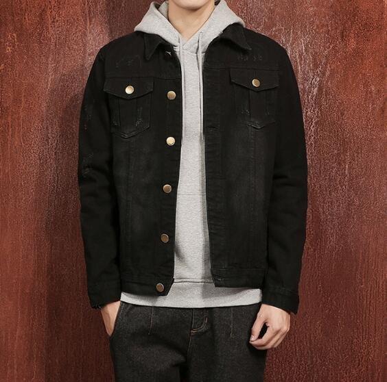 FINDSENSEZ1日系時尚潮男大尺碼秋冬黑色後背抓印M字母長袖牛仔外套夾克外套