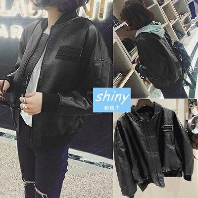 【V1303】shiny藍格子-韓范時尚‧學院風圓領拉鏈棒球服pu皮短款外套