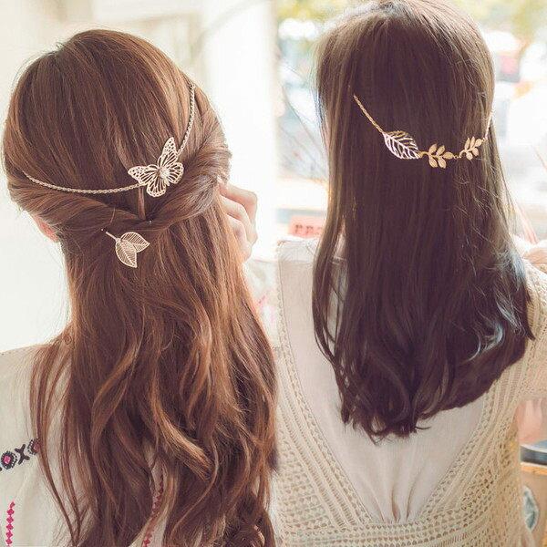 PS Mall 日 誇張後戴式甜美金屬蝴蝶髮帶森女樹葉髮帶頭飾~G2181~ ~  好康折