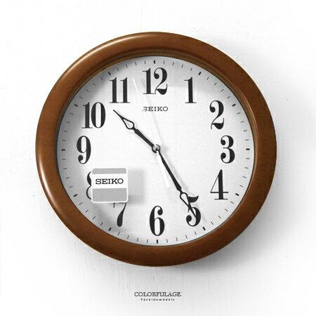 SEIKO精工掛鐘 日系文青 原木質感深咖色清晰大數字圓型時鐘 質感生活 柒彩年代【NG8】原廠公司貨 - 限時優惠好康折扣