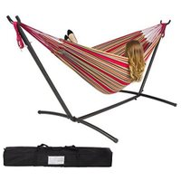 Double Hammock With Space Saving Steel Stand - Includes Portable Carrying Case, Red