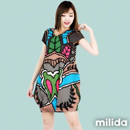 【Milida,全店七折免運】-夏季商品-拼貼款-花樣毛線拼貼洋裝