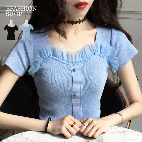 領拼網紗珠扣短袖針織上衣-eFashion預【H16515003】