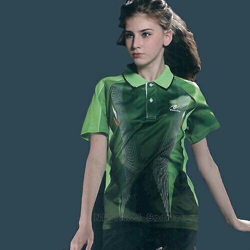 日本名牌Nittaku男女吸濕排汗(印刷圖騰)短POLO衫-深綠(#3501) - 限時優惠好康折扣