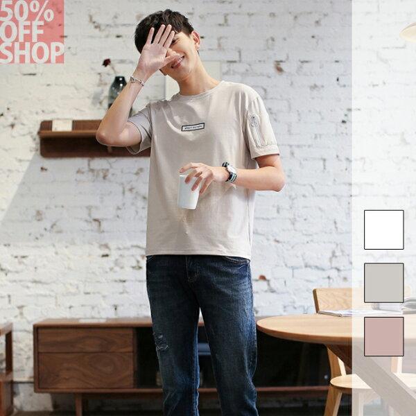 50%OFFSHOP男裝寬鬆短袖t恤套頭圓領印花半袖上衣(3色)(M-XXL)【BA035164C】