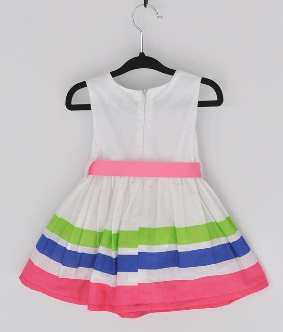 Girls Kids One Piece Dress Stripe Rainbow Color 0