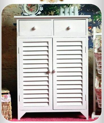 簡約大空間百葉木質白色鞋櫃【中裕傢俱生活館】