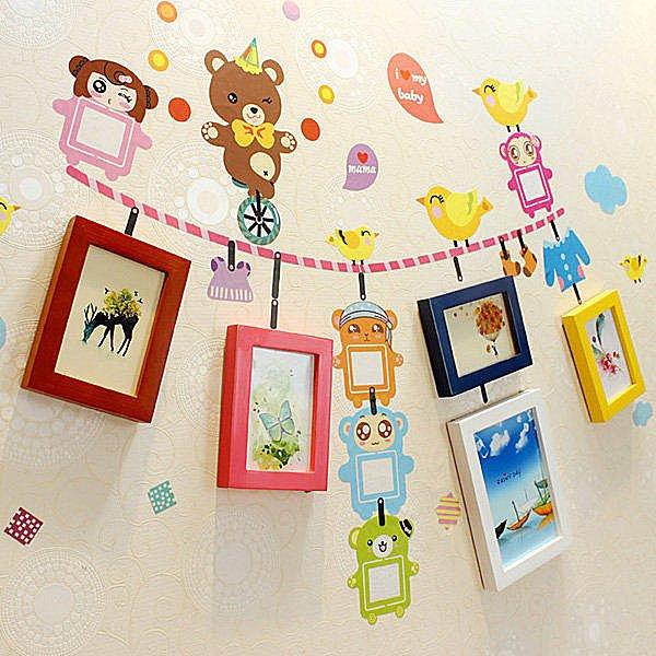 BO雜貨~YV3988~ 5框小熊兒童壁貼 簡約實木相框 照片牆 相片牆 相框牆 相框組