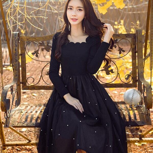 灰姑娘[98622-QF]時尚花瓣領滿天星珍珠網紗下擺宴會服飾洋裝~秋裝新款~