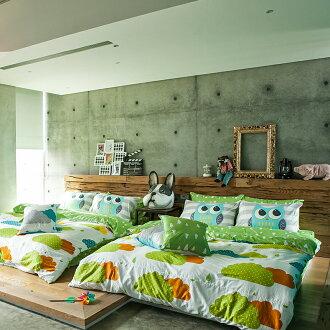 新品!床包 / 單人【奇幻不思議-遇見朵朵-綠】含一件枕套,100%精梳棉,奇妙童話時光,戀家小舖台灣製