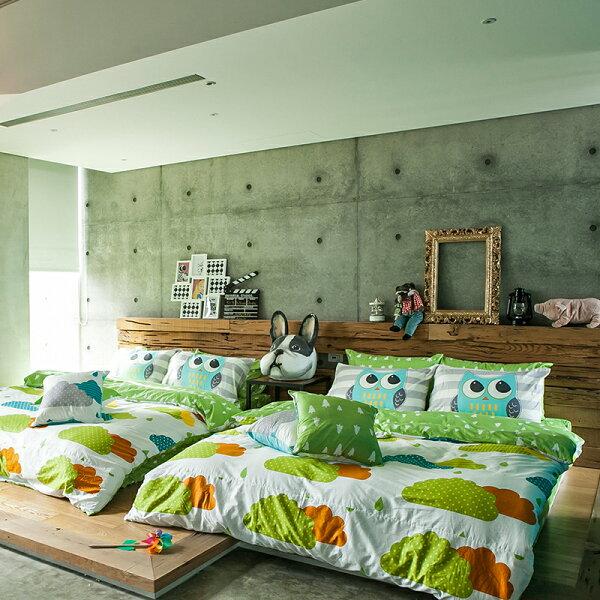 床包被套組雙人特大【奇幻不思議-遇見朵朵-綠】含兩件枕套,100%精梳棉,奇妙童話時光,戀家小舖台灣製
