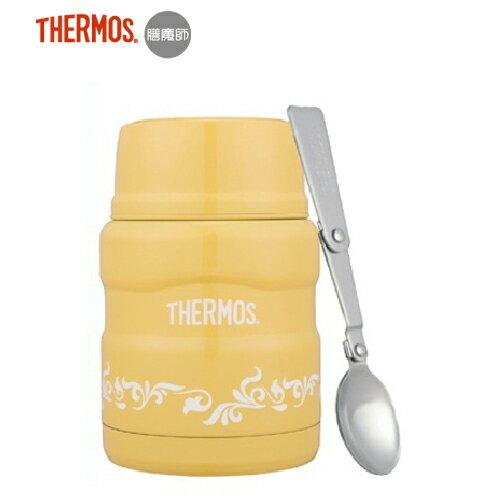 【Thermos 膳魔師】不銹鋼真空食物燜燒罐470ml (附湯匙)-檸檬歐蕾