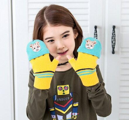 Kocotree◆秋冬可愛刺繡長頸鹿小鹿保暖兒童五指手套-黃色