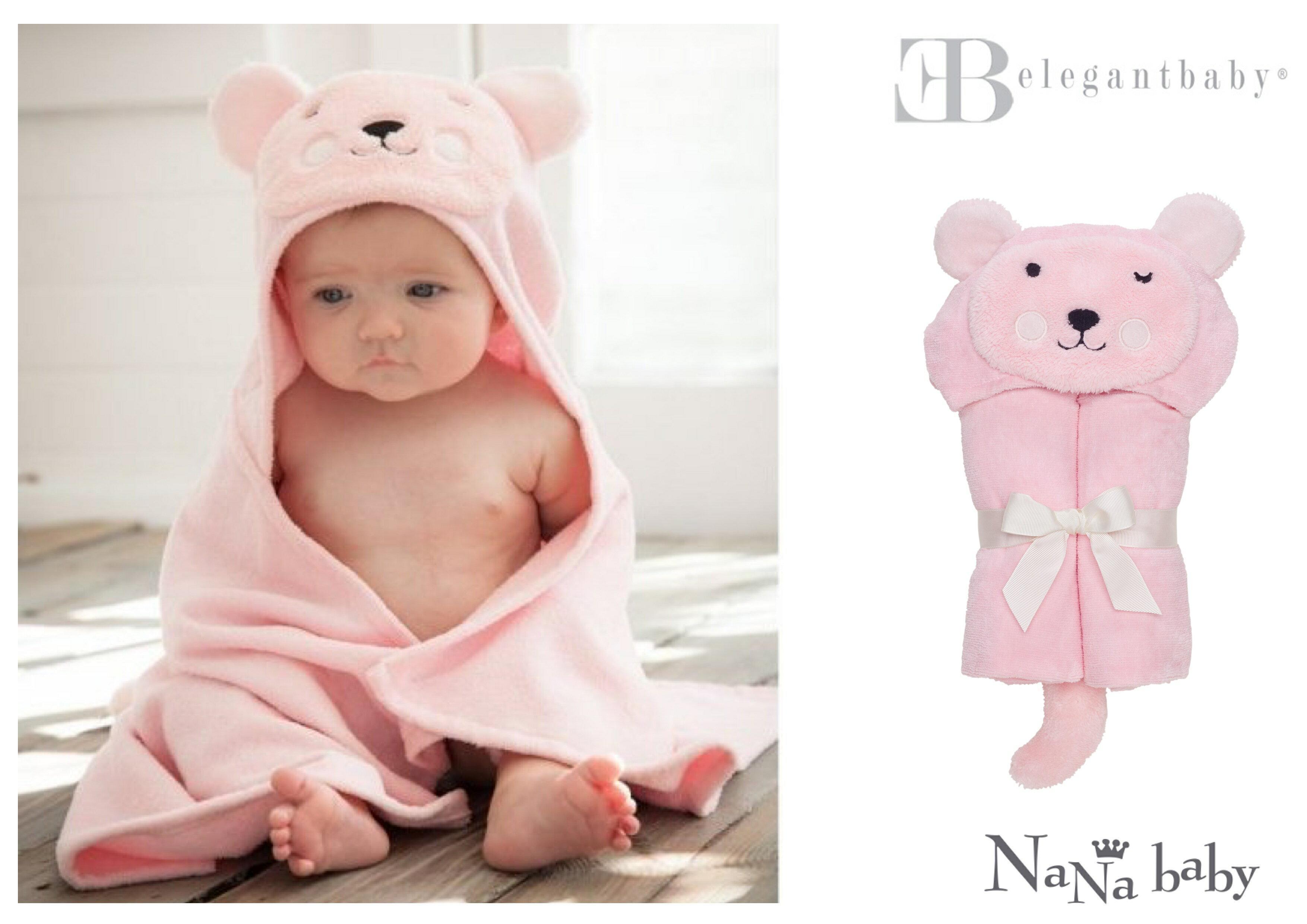 【美國Elegant Baby】動物造型連帽浴巾- 粉紅小熊 #79576