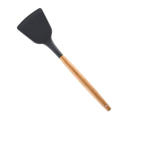 12H台灣出貨 食品級耐高熱-影片實拍【單支-矽膠鍋鏟 木製手把 矽膠廚具】廚房用品 鍋鏟炒菜鏟 煎魚鏟 料理用具 矽膠煎鏟