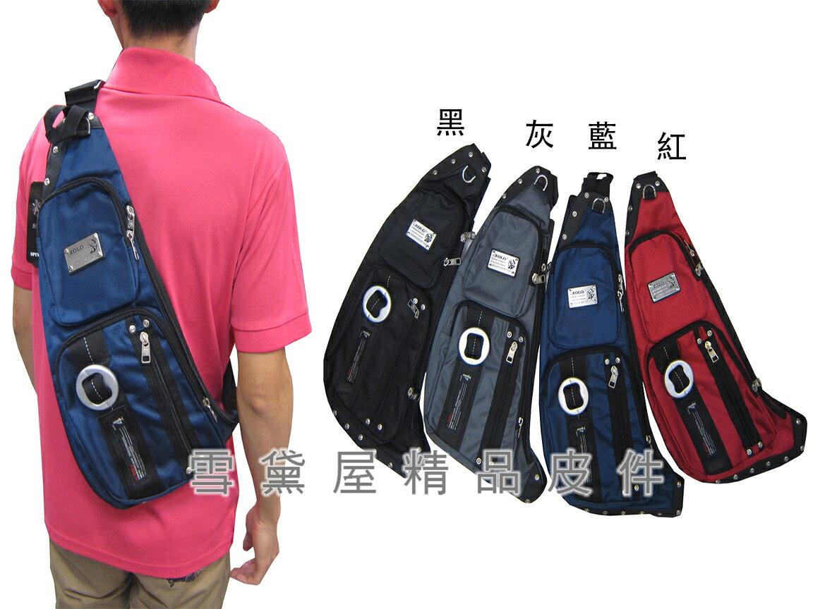 ~雪黛屋~ZOLO 單後背包中型容量單左肩背後背防水尼龍布+皮革材質外袋可5寸手機青少兒童全齡適用S5073